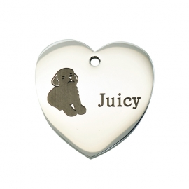 Stainless Steel Heart Dog ID Tag WG