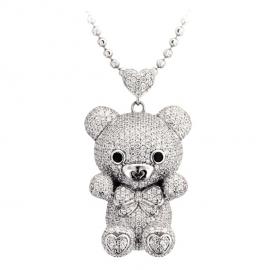 Bear Pendant Necklace Set WG