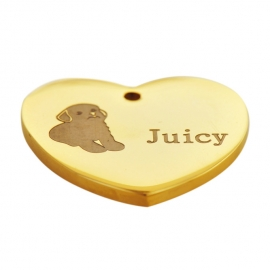 Stainless Steel Heart Dog ID Tag YG