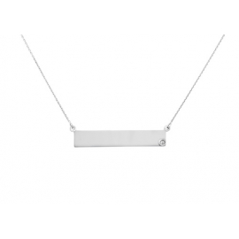 Engrave-able Name Bar Necklace With Diamond SILVER