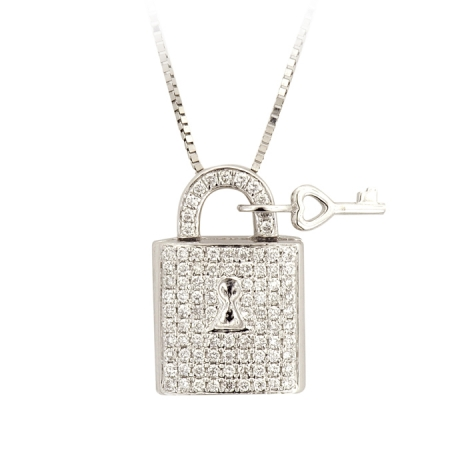 Jdp343 14k white diamond lock key pendant with 10k white gold jdp343 14k white diamond lock key pendant with 10k white gold necklace aloadofball Choice Image