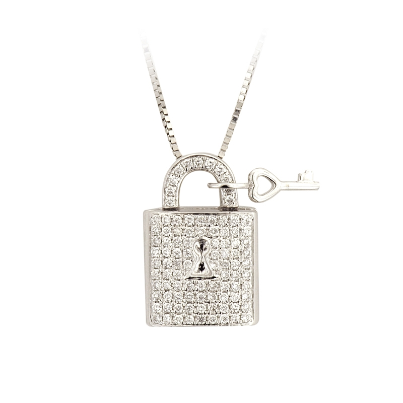 Jdp343 14k white diamond lock key pendant with 10k white gold jdp343 14k white diamond lock key pendant with 10k white gold necklace loading zoom aloadofball Image collections