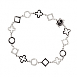 B300 18K White Gold Diamond Shapes Bracelet